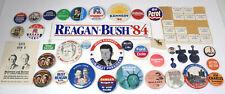 35 Pc. Lot Misc. Vintage Political Buttons and Memorabilia, Democrat Republican