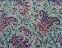 Sanganeri Hand Block Print 100% Pure Cotton Fabric Running 3 Yard Indian New
