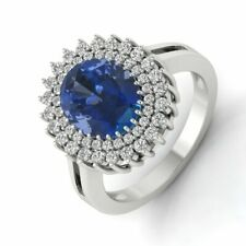 3.37 Ct Oval Blue Zircon Statement Halo Cubic Zirconia 14kt White Gold Ring