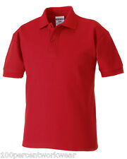 Size 5-6 years Russell 539B RED Kids Childrens Short Sleeved Polo Shirt School
