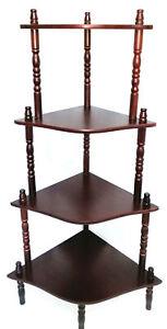 Vintage Wood Corner Stand Shelves Rack Organiser Compact Organiser 4 Tier HW609