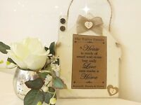 HANDMADE PERSONALISED HOUSE PLAQUE SIGN NEW HOME GIFT