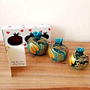 Pottery Pomegranate Vases 3 Piece Set Decorative Gift Boho Style Blue Authentic