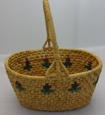 """BEAUTIFUL WOVEN BASKET 10"""" LONG, 7"""" WIDE, 11"""" TALL INCLUDING HANDLE FANTASTIC!"""