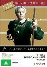 Classic Matinee Triple Bill Shakespeare - Henry V, Romeo Juliet, Hamlet DVD NEW