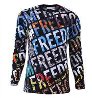 "MOSCHINO Cotton Longsleeve T-Shirt with Motive Print ""Freedom"" Black 04454"