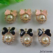 Mixed Color Alloy Mini Bow Pearl Enamel Charms Pendants Craft Findings 18x 50967