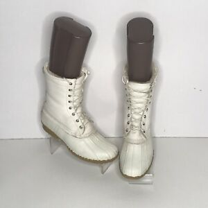 vtg ll bean White duck leather boots Womens us size 11 waterproof fur lined boot