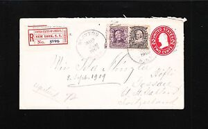 Slayton MN Registered 1909 Bureau 3c 8c NY Registry Switzerland Cover 2c PSE 2t