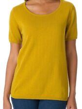 "BRAND NWT ""Olive Spice"" Yellow Short-Sleeve Crewneck Sweater PLUS SZ 18/20W"