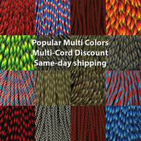 550 Paracord Popular Multicolors 10, 25, 50 & 100 Ft  USA MADE same day shipping