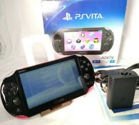 A0479 Sony PS Vita Pink Black PCH-2000 w/ Charger + Box [Excellent] fast ship