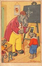 antique art Postcard dressed hippos hippopotomas Jan Wiegman school classroom