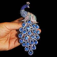 Peacock Bird Unisex Brooch Pin Sapphire Blue Austrian Crystal Peafowl Silver GP