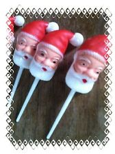 NEW (12) SANTA VINTAGE RETRO CUPCAKE PICKS TOPPERS-MARTHA BY MAIL (STEWART)
