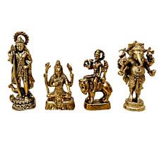 Shiva Parvati Goddess Ganesha Murugan Hindu God Family Statue Brass Gold  Idol