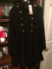Women's Wool fully Lined Double Breasted Dress with tiered Shirt & Full Zip Back