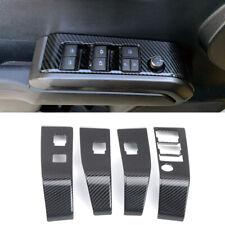 Carbon Fiber Black Door Armrest Window Lift Cover Trim For Toyota Tacoma 16-19