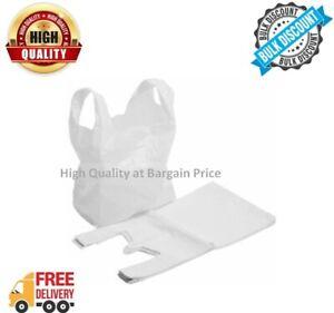 VEST CARRIER BAG WHITE PLASTIC STYLE POLYTHENE SHOPPING BAGS LOT 100-2000