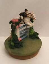 Our America JUMPING HORSE EQUESTRIAN FENCE ROSES Candle Topper NWT