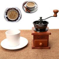 Coffee Grinder Vintage Retro Manual Hand Crank Wooden Metal Herb Burr Mill Spice