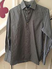 Para Hombres Talla 15.5 (34) Polo By Ralph Lauren Camisa a Rayas Negro/Blanco Rrp £ 120