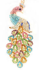 Colorful Peacock Keychain Crystal Charm Animal Purse Gift Cute Accessory 01320
