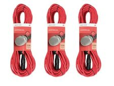 3 x Chord 12M Red Microphone Cable Lead XLR Mic Quality Band DJ Studio Disco