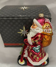 """Christopher Radko Santa Riding Red Scooter with Pack of Toys and Teddy Bears 6"""""""