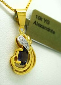 ALEXANDRITE 0.69 Cts & DIAMONDS PENDANT 10k Gold * NEW WITH TAG * Made in USA