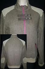 OAKLEY Womens Full Zip Front Bomber Jacket Coat Elbow Patch Sz Small Brown Beige