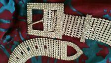Vintage 1950's Spectacular! Wide Diamante Silver Belt.