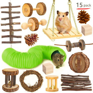 Hamster Toy Set Rabbit Ferret Play Molar Pipe Wooden Rat Toy for Small Pets Play