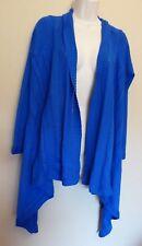 per Una Large Uk16-18 Eu44-46 Us12-14 Bright Blue Waterfall Cotton Cardigan