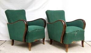 Art Deco Armchairs Pair of Club Cocktail Chairs. 1930 Vintage Antique Halabala.