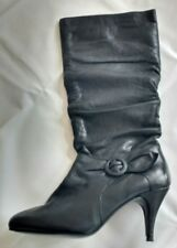 Schuh Womens Ladies Black Leather Pull On Knee High Boots Size 7.5/41 New