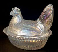 Boyd Art Glass Hen / Chicken On Nest Crystal Carnival