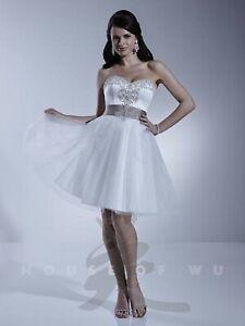 NWT Size 12 Dere Kiang 11142 Short ivory/mocha wedding dress, destination wed