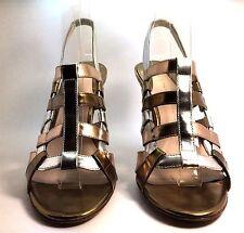 AUTHENTIC ELIE TAHARI Metallic Leather Gladiator Sandal Heel Size 37.5