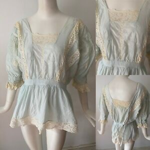 Antique Edwardian Blue Cotton Lace Crochet Lawn Blouse M 12 40 Bust