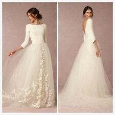 3/4 Sleeve Wedding Dress Bridal Gown Vestido De Noiva Long Satin Tulle Backless