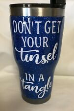 32oz Vacuum Insulated Blue Sparkles Stainless Steel Tumbler With Spill Proof Lid