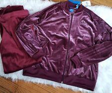 Adidas Originals Women's SST VELVET Vibes Track Jacket NWT X large Maroon street
