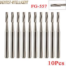 10pcs Dental Surgical Carbide Burs Cross Cut Cylinder Fissure Fg 557 Bur Drills