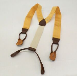 Brooks Brothers Suspenders Braces Silk Leather Trim Gold Yellow Brown
