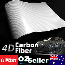 1.51x 3M White 4D Carbon Fibre Car Roof Hood Trunk Vinyl Wrap Film Sheet Sticker