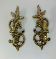 Vintage Syracuse Ornamental Co  Gold Wall Candle Sconces PAIR