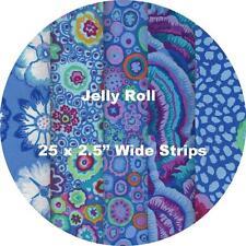 """JELLY ROLL 25 strips 2.5"""" x 42"""" - Kaffe Fassett Collective 2016 - BLUE #1"""