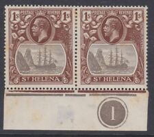 St Helena GV 1922 1/- grey & brown mint pair block CLEFT ROCK sg106c