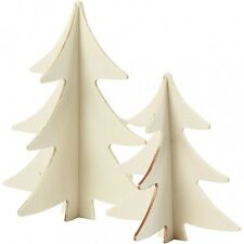 Christmas Tree Wooden 3D Decoration - Plain Wood Trees Decorate Craft - Set of 2